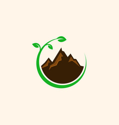 mountain nature leaves creative logo design vector image