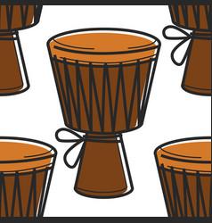 music african symbol tom tom drum seamless pattern vector image
