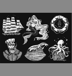 Nautical adventure set sea mermaid and marine vector