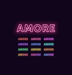 Neon text amore expressive title word amore vector