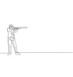 one single line drawing young man practicing vector image