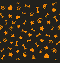 orange pattern with bones spirals stars hearts vector image