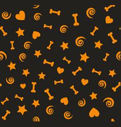 orange pattern with bones spirals stars hearts vector image