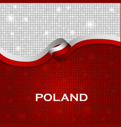 Poland flag ribbon shiny particle style vector