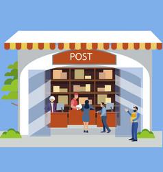 postal office receiving postal parcels shipments vector image