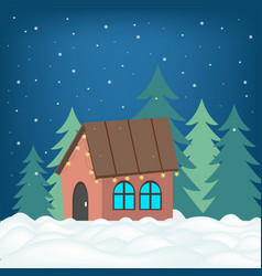 postcard at night with a house and shone with vector image