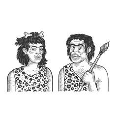 Primitive caveman family sketch vector