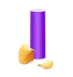 Purple tube with stack potato chips vector