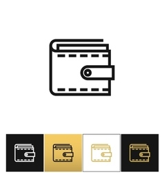 Purse or money wallet linear icon vector image