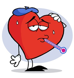 Red Heart With A Thermometer In His Mouth vector image