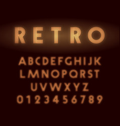 Retro neon alphabet font letters and numbers line vector