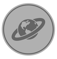 Ringed planet silver coin vector