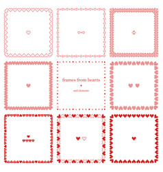 romantic set of square frames of hearts vector image