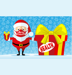 santa claus in a protective mask with gifts vector image