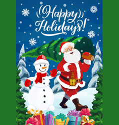 santa with chtistmas tree gifts and snowman vector image