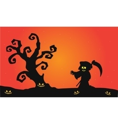 Scary witch halloween silhouette vector image