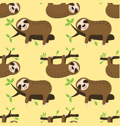 seamless sleeping sloth pattern vector image