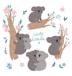 set cute koalas isolated on a white background vector image