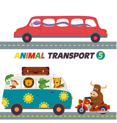 set of isolated transports with animals part 5 vector image