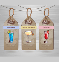 Set of restaurant labels cocktail menu design vector