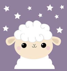 sheep lamb face head icon cloud shape cute vector image