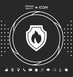 shield with fire sign - protection icon graphic vector image