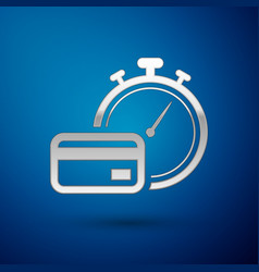 Silver fast payments icon isolated on blue vector