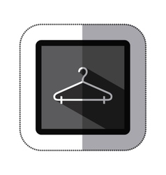 Sticker monochrome square with hook closet shirt vector