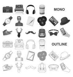 Style hipster monochrom icons in set collection vector
