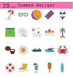 summer holiday colored thin line icon set vector image vector image