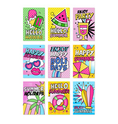 Summer poster set hello summer hawaii enjoy vector