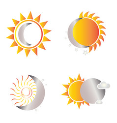 Sun and moon shapes vector