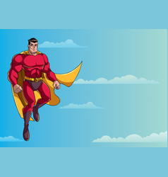 Superhero flying in sky vector