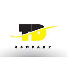 Td t d black and yellow letter logo with swoosh vector