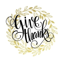 Thanksgiving - gold glittering lettering design vector
