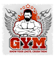 the man with the muscles a bearded stern man vector image