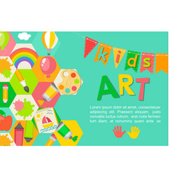 Themed kids art poster vector