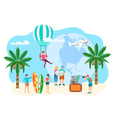 tourists travel to tropical countries vector image