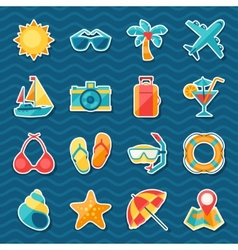Travel and tourism sticker icon set vector