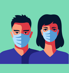 two doctors in medical masks man and woman vector image