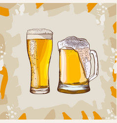 two glasses of beer hand-drawing oktoberfest beer vector image