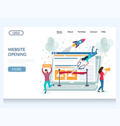 website opening web site landing page vector image