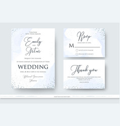 Wedding invite thank you rsvp card design set vector