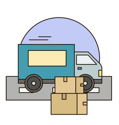 white delivery van with shadow and cardboard boxes vector image