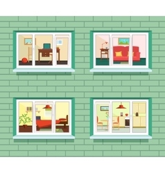 window view of flat design vector image