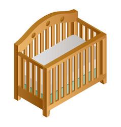 wood baby crib icon isometric style vector image