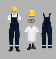 Work wear and uniform set isolated vector