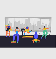 Working out in gym hand drawn vector