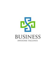 cross heath letter s medical logo concept vector image