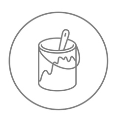 Paint brush in the paint tin line icon vector image
